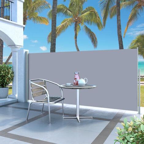 Paravent Exterieur Auvent Lateral Retractable 140 X 300 Cm Gris