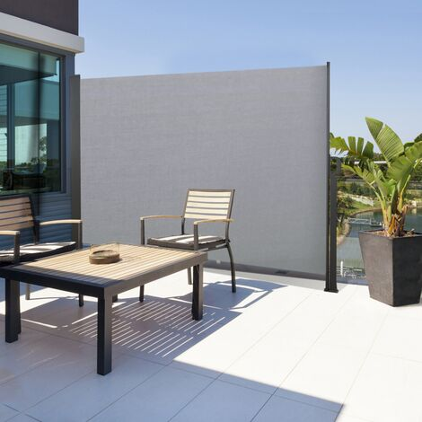 Paravent extérieur rétractable 140 x 250 cm gris clair store latéral