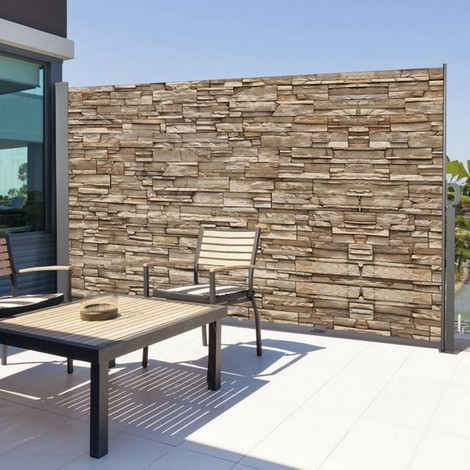 Paravent extérieur rétractable 300 x 160 cm motif pierre