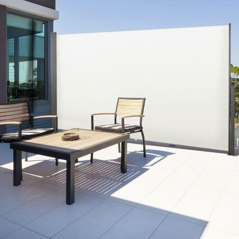 Paravent extérieur rétractable 300 x 200 cm blanc store latéral