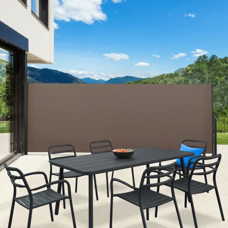 Paravent extérieur rétractable 400 x 160 cm taupe store latéral