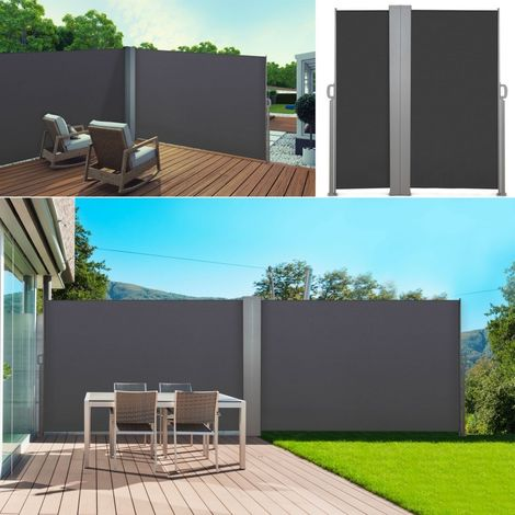Paravent extérieur rétractable double 600x160cm gris store vertical