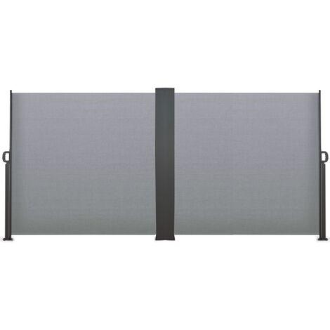 Paravent extérieur rétractable double 800 x 160 cm gris clair store latéral