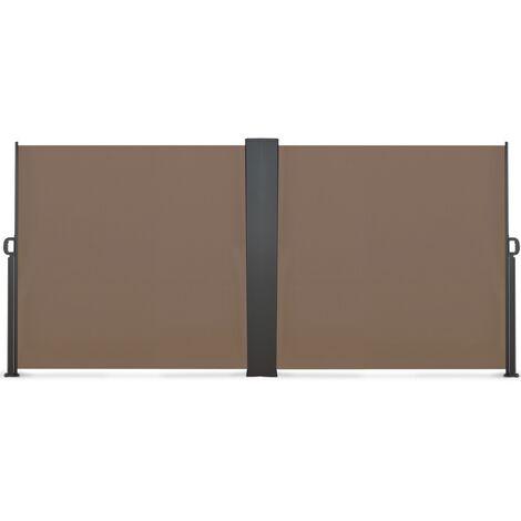 Paravent extérieur rétractable double 800 x 160 cm taupe store latéral