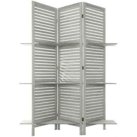 Paravent gris 3 etageres - L. 120 x l. 26 x H. 170 cm -PEGANE-