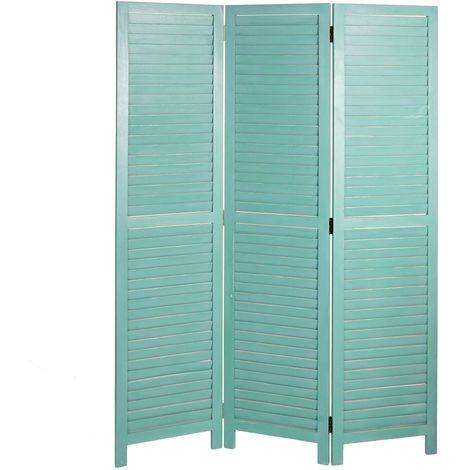 Paravent HHG-634, cloison de séparation, pare-vue, brise-vue, style shabby, vintage 170x120cm ~ vert