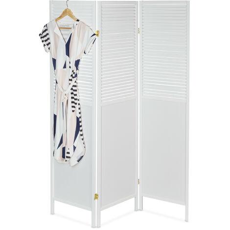 Paravent, HxL: 176 x 132 cm, séparateur de pièces pliable, brise-vue, panneau intérieur, bois, MDF, blanc