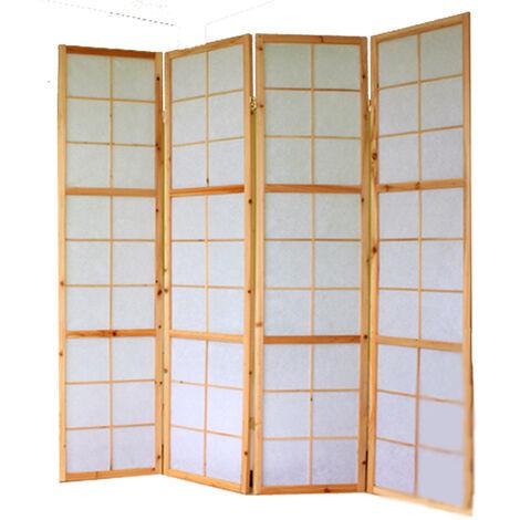 Paravent japonais bois naturel - 4 pans