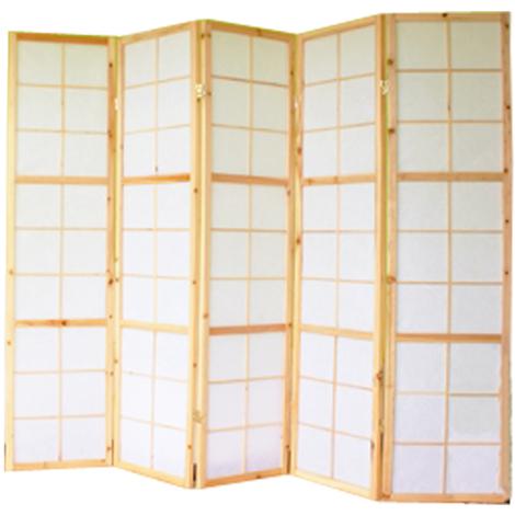 Paravent japonais bois naturel - 5 pans