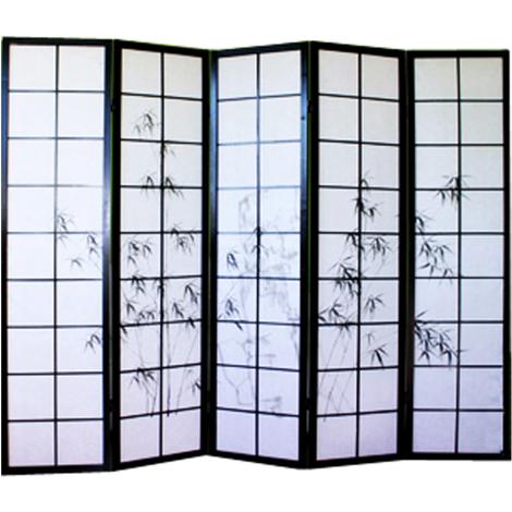 Paravent japonais en bois noir dessin bambou de 5 pans