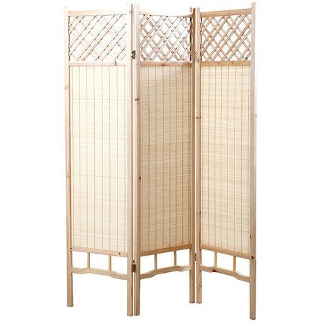 Paravent japonais en sapin et bambou NEW NIHA