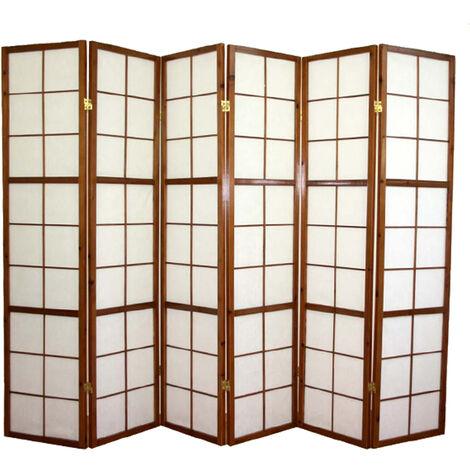 Paravent japonais Shoji en bois brun foncé de 6 pans