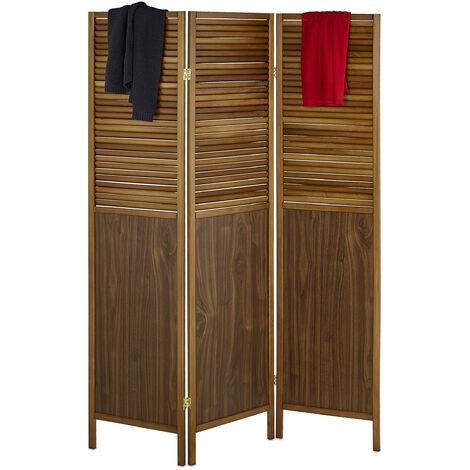 Paravent noyer, HxL: 176 x 132 cm, séparateur de pièce pliable 3 panneaux, brise-vue, noyer et MDF, brun