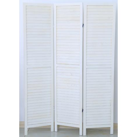 Paravent persienne de 3 pans en bois, coloris blanc lasuré - Dim : H170 x L120cm