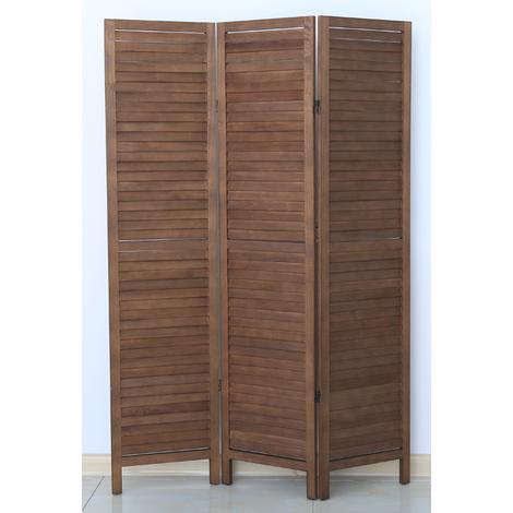 Paravent persienne de 3 pans en bois, coloris brun - Dim : H170 x L120cm