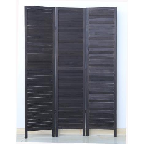Paravent persienne de 3 pans en bois, coloris noir - Dim : H170 x L120cm