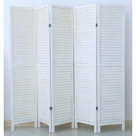 Paravent persienne de 5 pans en bois, coloris blanc - Dim : H170 x L200cm