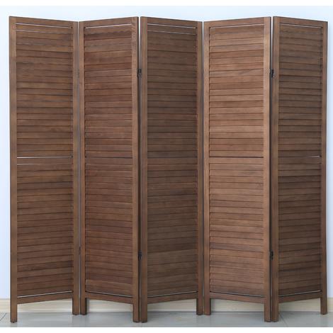 Paravent persienne de 5 pans en bois, coloris brun - Dim : H170 x L200cm