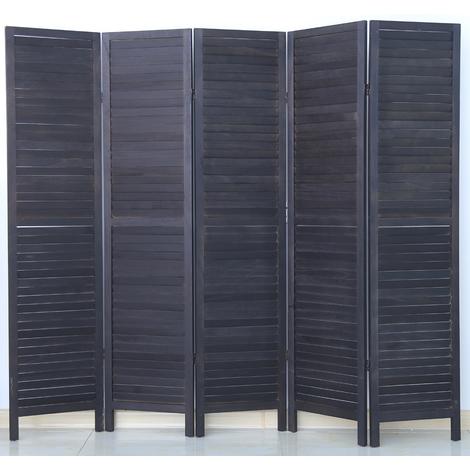 Paravent persienne de 5 pans en bois, coloris noir - Dim : H170 x L200cm