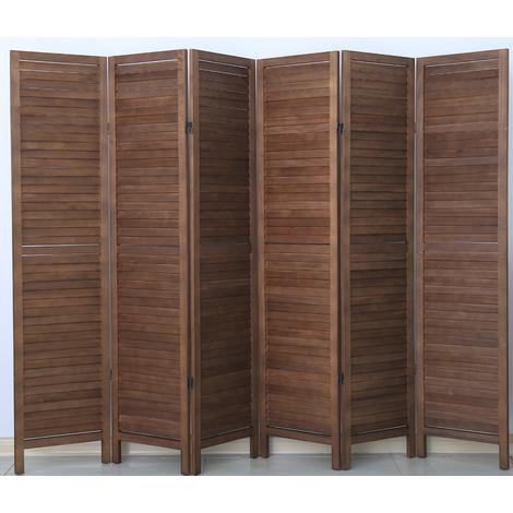 Paravent persienne de 6 pans en bois, coloris brun - Dim : H170 x L240cm