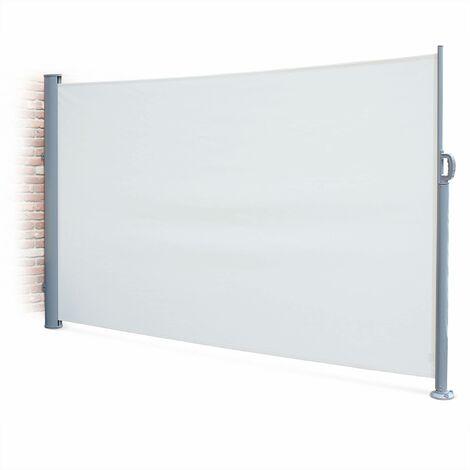 Paravent rétractable Putti écru 300x160cm, brise-vue enroulable 3m, mât aluminium gris et toile polyester 280g