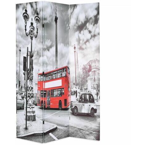 Paravent séparateur de pièce cloison de séparation décoration meuble 120 cm bus londonien noir et blanc - Blanc