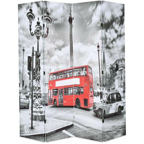 Paravent séparateur de pièce cloison de séparation décoration meuble 160 cm bus londonien noir et blanc - Blanc