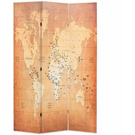 Paravent séparateur de pièce cloison de séparation décoration meuble pliable 120 cm carte du monde jaune - Jaune
