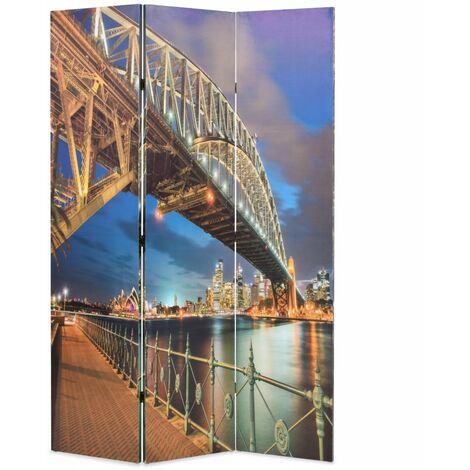 Paravent séparateur de pièce cloison de séparation décoration meuble pliable 120 cm harbour bridge sydney - Or