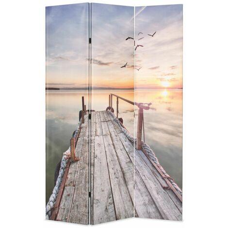 Paravent séparateur de pièce cloison de séparation décoration meuble pliable 120 cm lac - Or