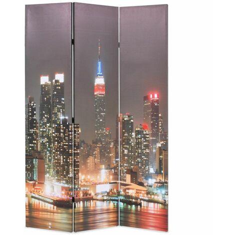 Paravent séparateur de pièce cloison de séparation décoration meuble pliable 120 cm new york la nuit - Or