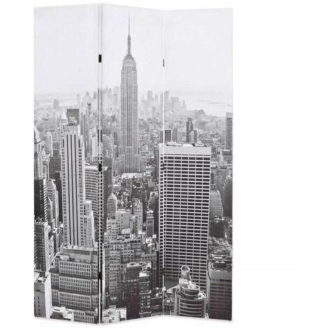 Paravent séparateur de pièce cloison de séparation décoration meuble pliable 120 cm new york noir et blanc - Blanc
