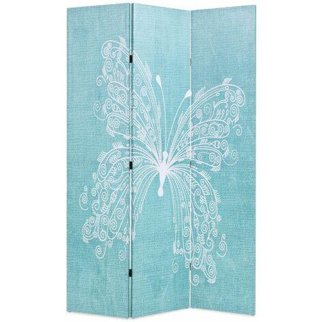 Paravent séparateur de pièce cloison de séparation décoration meuble pliable 120 cm papillon bleu - Bleu
