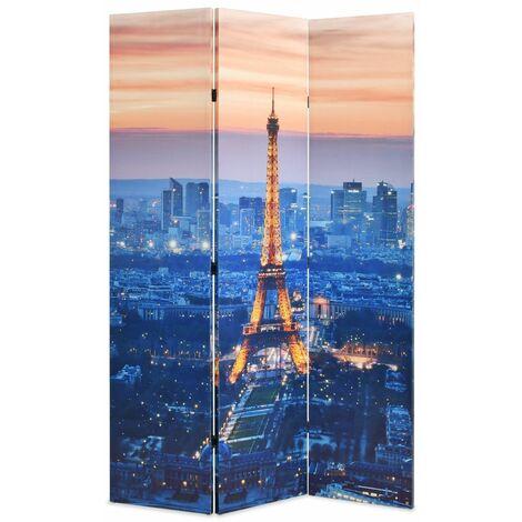 Paravent séparateur de pièce cloison de séparation décoration meuble pliable 120 cm paris la nuit - Or
