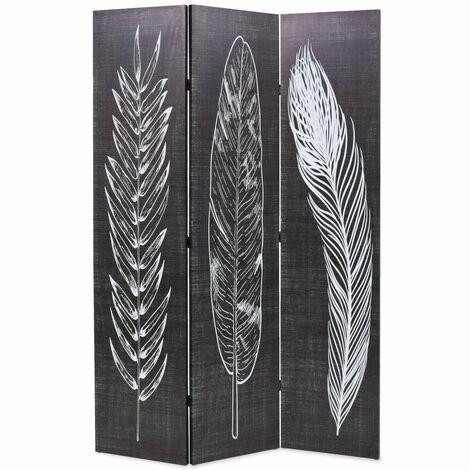 Paravent séparateur de pièce cloison de séparation décoration meuble pliable 120 cm plumes noir et blanc - Blanc
