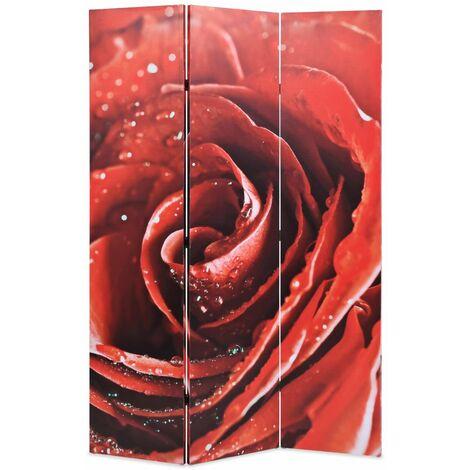 Paravent séparateur de pièce cloison de séparation décoration meuble pliable 120 cm rose rouge - Or