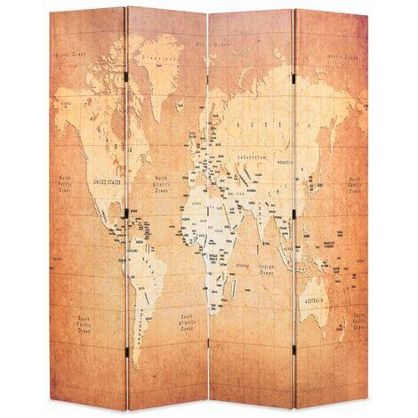 Paravent séparateur de pièce cloison de séparation décoration meuble pliable 160 cm carte du monde jaune - Jaune