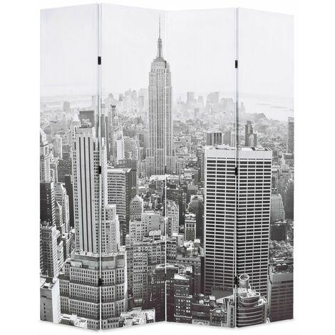 Paravent séparateur de pièce cloison de séparation décoration meuble pliable 160 cm new york noir et blanc - Blanc