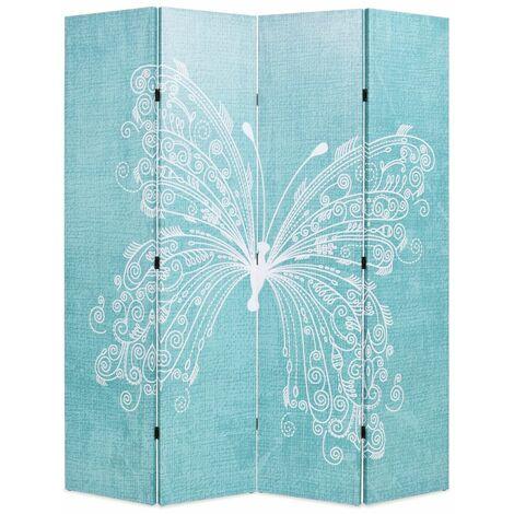 Paravent séparateur de pièce cloison de séparation décoration meuble pliable 160 cm papillon bleu - Bleu