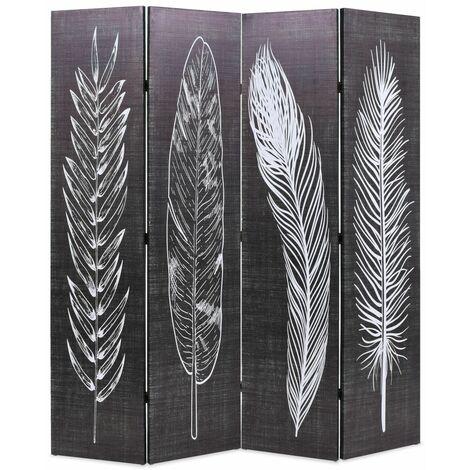 Paravent séparateur de pièce cloison de séparation décoration meuble pliable 160 cm plumes noir et blanc - Blanc