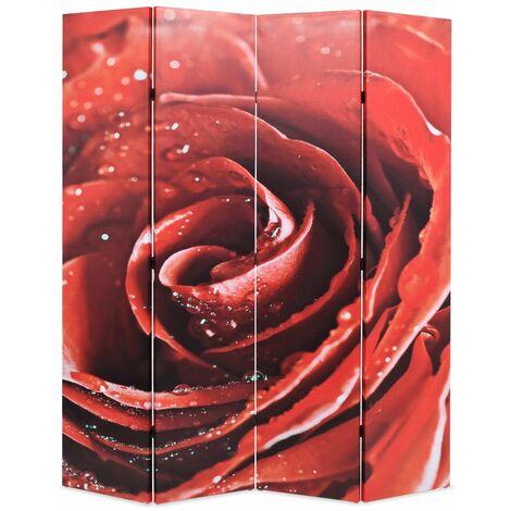 Paravent séparateur de pièce cloison de séparation décoration meuble pliable 160 cm rose rouge - Or