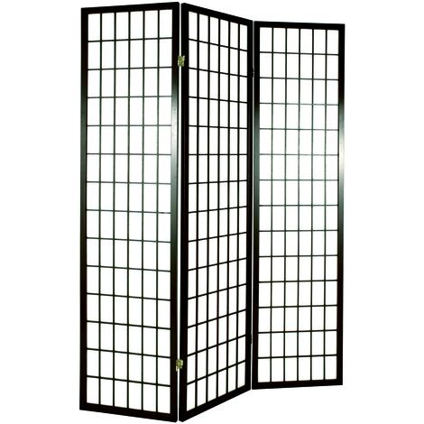 Paravent Shoji noir de 3 pans - Dimensions : 131 x 2 x 179 cm