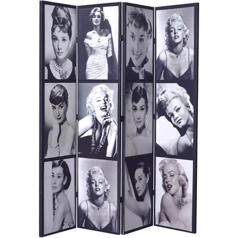 Paravent toilé noir et blanc Audrey Hepburn / Marilyn Monroe recto-verso 4 pans - Dim : H 180cm -PEGANE-