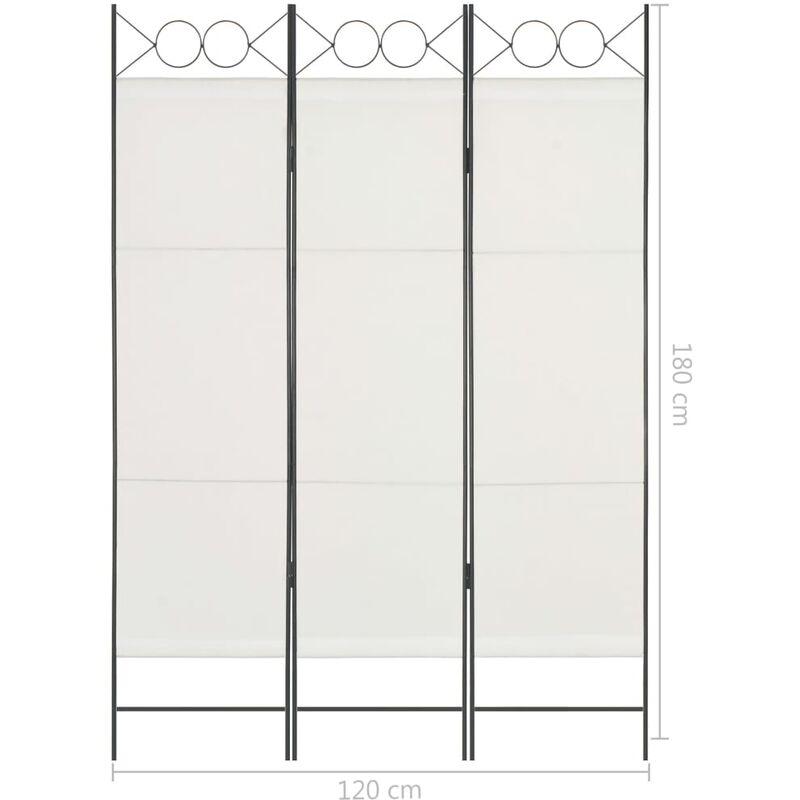 FAMIROSA Paravento a 3 Pannelli Bianco Crema 120x180 cm
