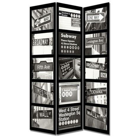 Paravento Separe/' 3 Pannelli Con Stampa Fronte Retro New York City 40x180cm