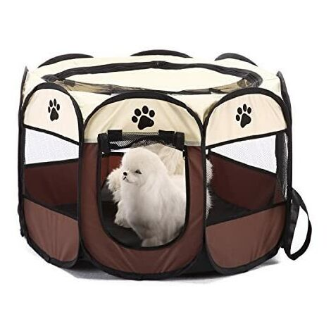 Parc à Chiot Parc de Jeu en Tissu Pliable pour Animal Domestique Chiot Chat Lapin Cochon Parc Cage Niche Tente,8 Panneaux,intérieure/extérieure S