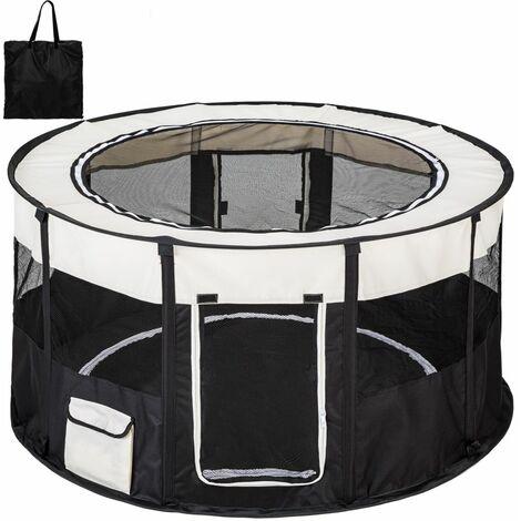 Parc à chiots 114 x 60,5 cm avec sol amovible noir - Noir