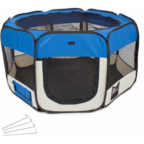 Parc à chiots chiens enclos pour animaux pliable bleu 125 x 125 x 64 cm
