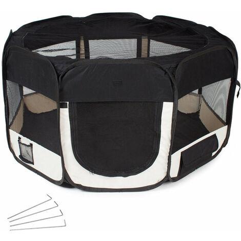 Parc à chiots chiens enclos pour animaux pliable noir 125 x 125 x 64 cm - Noir