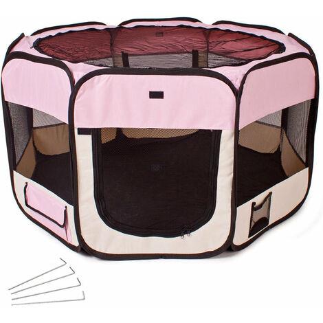 Parc à chiots chiens enclos pour animaux pliable rose 125 x 125 x 64 cm